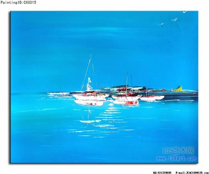 风景油画海景风景油画航海