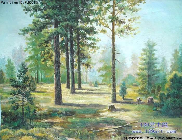 风景油画古典风景油画松树