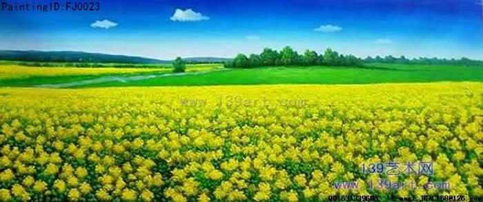 风景油画-花园景风景油画-油菜田