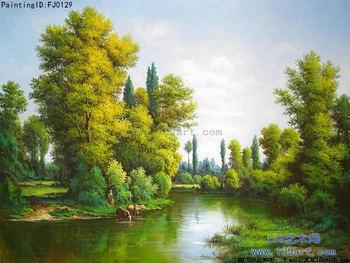 客厅油画,酒店油画,公司办公室油画,中高档风景油画,蓝绿色调油画