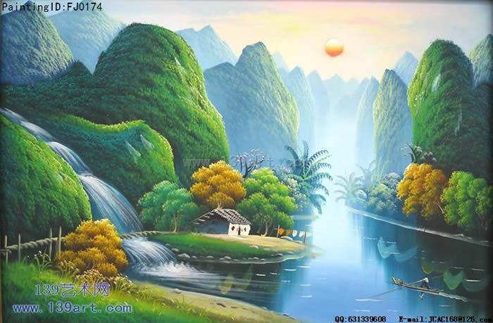 风景油画中国风景油画青山碧水图