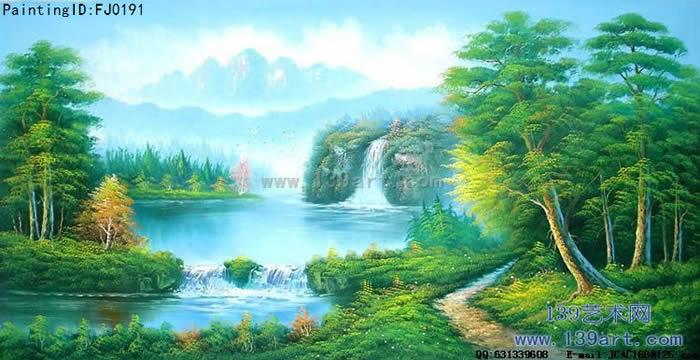 電視背景油畫,酒店油畫,公司辦公室油畫,其他風景油畫,藍綠色調油畫