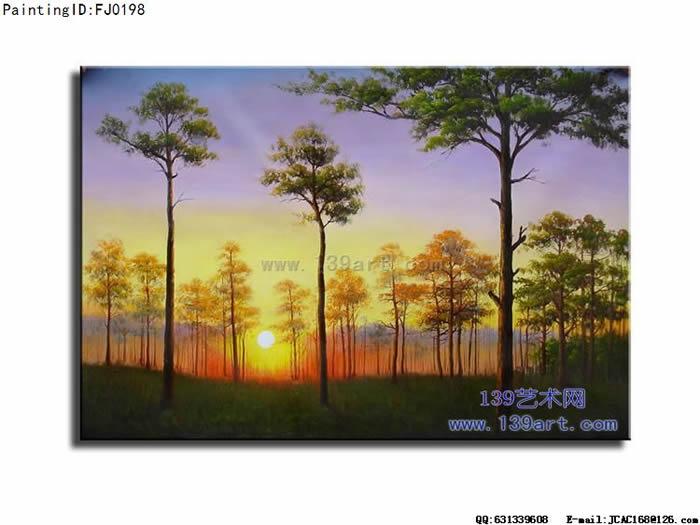 装饰油画风景装饰油画松树林