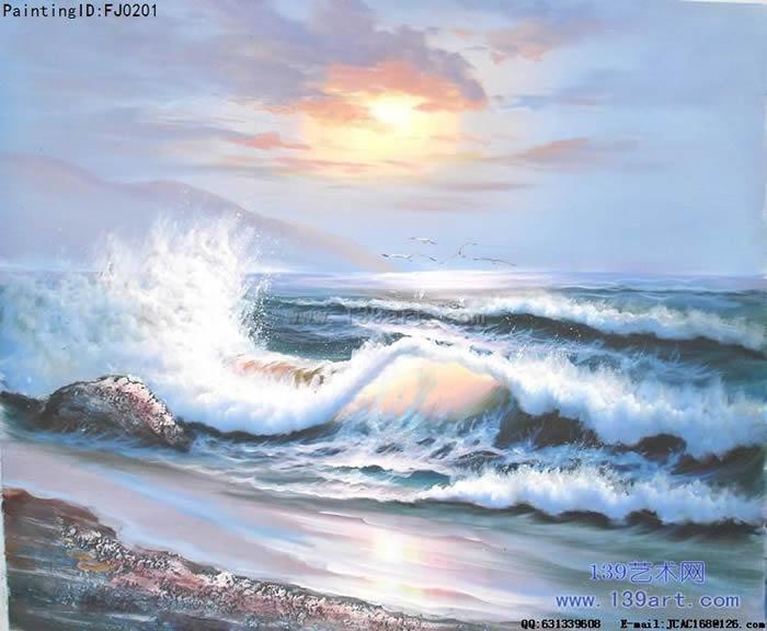 酒店油画,公司办公室油画,海景风景油画,卧室油画,蓝绿色调油画