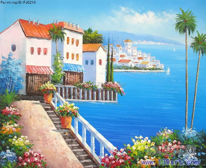 酒店油画,公司办公室油画,地中海风景油画,海景风景油画,蓝绿色调油画