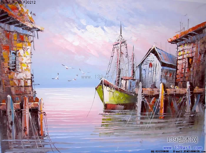 风景油画地中海风景油画码头