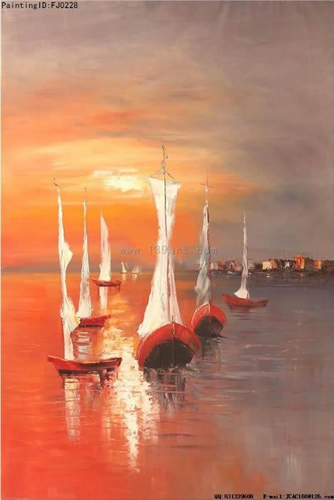 风景油画-海景风景油画-浪漫海滩