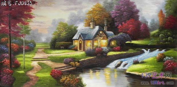 公司办公室油画,花园景风景油画,饭厅油画,电视背景油画,蓝绿色调油画