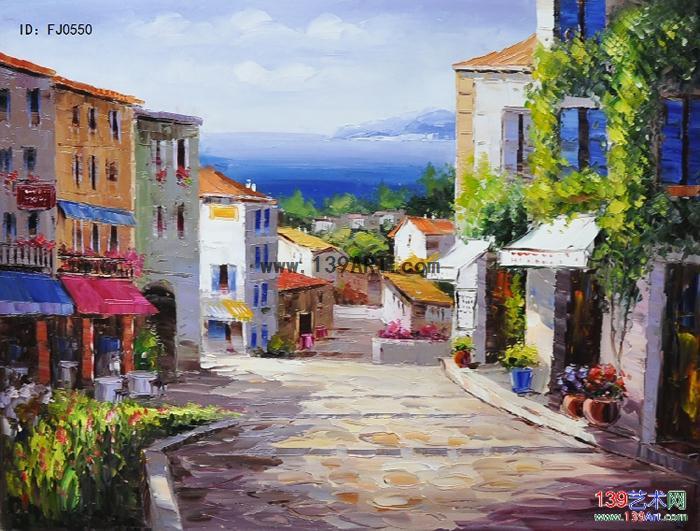 风景油画地中海风景油画地中海风情