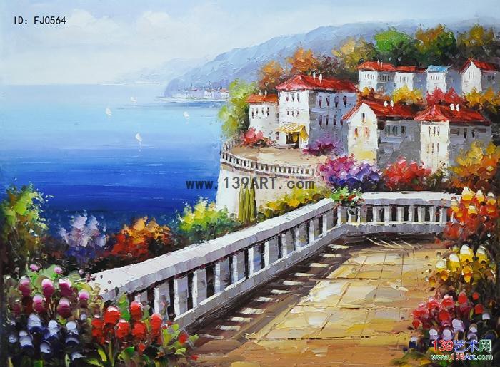 地中海风情 - 风景油画 - 地中海风景油画 139艺术网.
