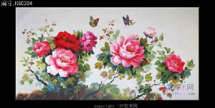 油画牡丹图