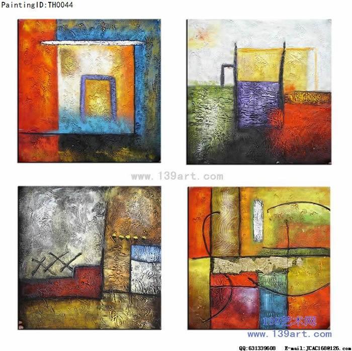 组合抽象油画,客厅油画,红黄色调油画,4拼组合油画,无规则组合油画