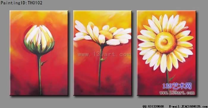 4拼组合油画《玉兰花》