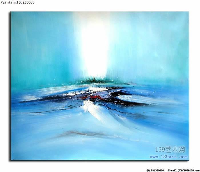 公司办公室油画,印象风景油画,风景抽象油画,风景印象油画,蓝绿色调