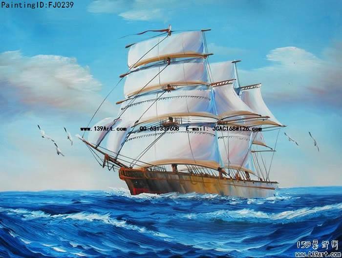 风景油画-海景风景油画-一帆风顺