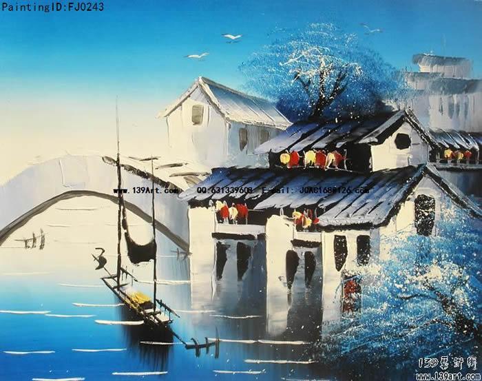 风景油画-中国风景油画-江南水乡