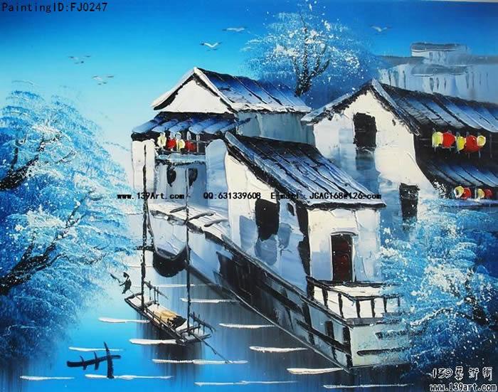风景油画中国风景油画江南水乡