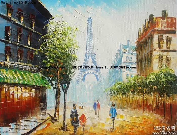 风景油画巴黎街景