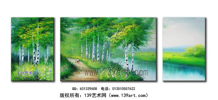 风景油画-组合风景油画-白桦树